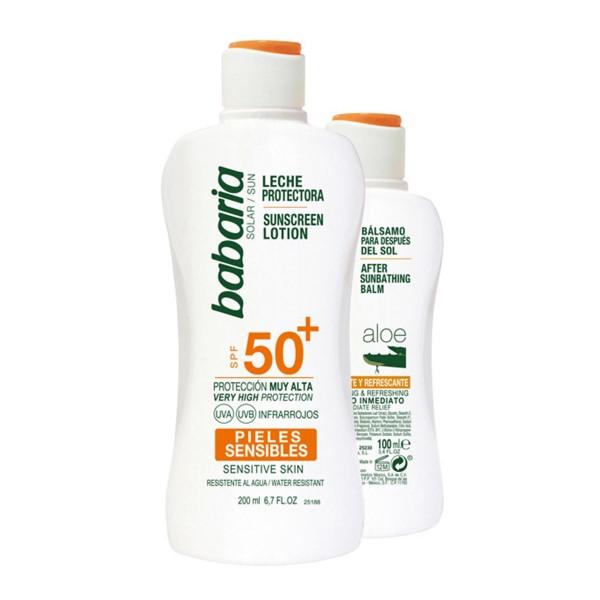 Babaria spf50+ leche protectora pieles sensibles 200ml + after sun aloe 100ml