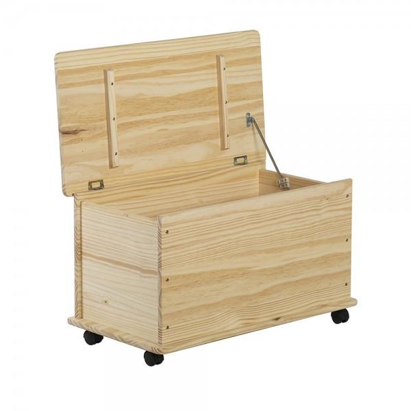 Baul de madera de pino con 4 ruedas 73x39x43,5cm astigarraga